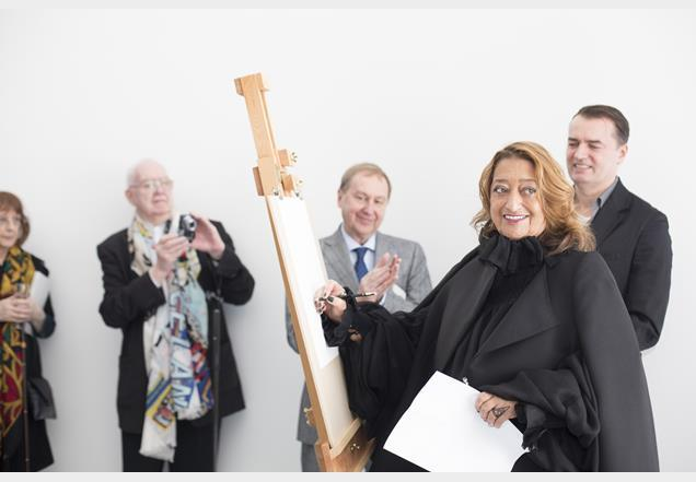 Zaha Hadid at the opening of Peter Cook drawing studio at the Arts University Bournemouth